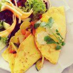 Kokos-Reis-Crêpes mit Gemüsefüllung